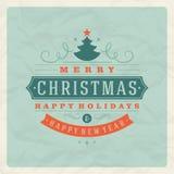 Tipografia retro do Natal e decoração do ornamento Foto de Stock Royalty Free