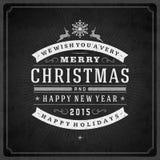 Tipografia retro do Natal e decoração do ornamento Fotografia de Stock
