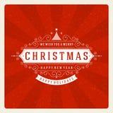 Tipografia retro do Natal e decoração do ornamento Fotografia de Stock Royalty Free