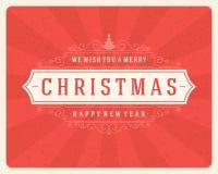 Tipografia retro do Natal e decoração do ornamento Imagens de Stock Royalty Free