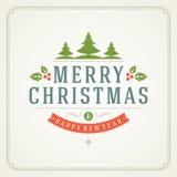 Tipografia retro do Natal e decoração do ornamento Fotos de Stock Royalty Free