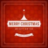 Tipografia retro do Natal e decoração do ornamento Foto de Stock