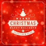 Tipografia retro do Natal e fundo da luz Fotos de Stock