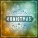 Tipografia retro do Natal e fundo da luz Foto de Stock Royalty Free
