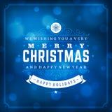 Tipografia retro do Natal e fundo da luz Imagens de Stock