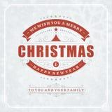 Tipografia retro e luz do Natal com Imagens de Stock Royalty Free