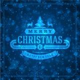 Tipografia retro e luz do Natal com Fotos de Stock Royalty Free