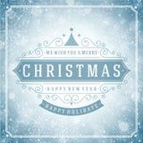 Tipografia retro e luz do Natal com Imagem de Stock