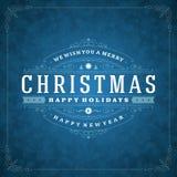 Tipografia retro e luz do Natal com flocos de neve Fotografia de Stock