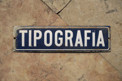 Tipografia Sign Royalty Free Stock Image