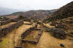 Tipon - incaen fördärvar av jordbruks- terrasser i Peru Arkivfoto