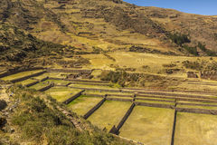 Tipon ruins Cuzco Peru. Tourists at Tipon, Inca ruins at Cuzco Peru stock photos