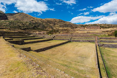 Tipon ruins in the peruvian Andes at Cuzco Peru stock photo