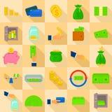 Tipos ícones ajustados, estilo liso do dinheiro ilustração stock