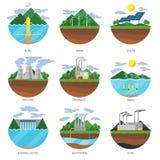 Tipos da energia da geração Vetor dos ícones do central elétrica Foto de Stock Royalty Free