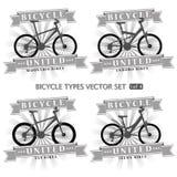 Tipos de bicicletas bajo la forma de siluetas Imágenes de archivo libres de regalías