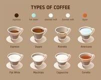 Tipos de café Iconos isométricos del vector Concepto de Infographics con los diferentes tipos de café stock de ilustración