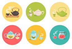 Tipos de chá Ilustração isolada vetor Fotos de Stock Royalty Free