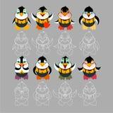 Tipos de emoções do caráter do pinguim ilustração do vetor