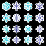 16 tipos de etiquetas azuis e brancas dos flocos de neve Foto de Stock