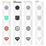 Tipos de etiquetas diferentes, oferta especial, VIP Ícones da coleção do grupo de etiqueta no estilo monocromático do esboço do p Imagens de Stock