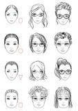Tipos de forma da cara Imagem de Stock