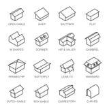 Tipos de grupo do vetor dos ícones dos telhados isolado do fundo ilustração do vetor