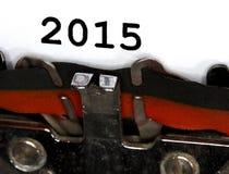 Tipos de la máquina de escribir tinta negra 2015 del primer Imagen de archivo libre de regalías