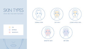 Tipos de la piel ilustración del vector