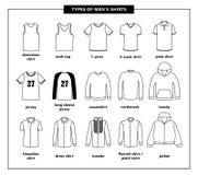 Tipos de las camisas de los hombres stock de ilustración