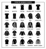Tipos de las camisas de las mujeres stock de ilustración