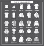 Tipos de las camisas de las mujeres ilustración del vector