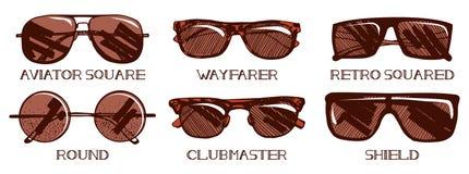 Tipos de las gafas de sol fijados Fotografía de archivo libre de regalías