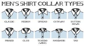 Tipos de los cuellos de la camisa Foto de archivo