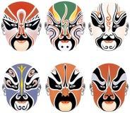Tipos de maquillaje facial en la ópera de Pekín Imagen de archivo