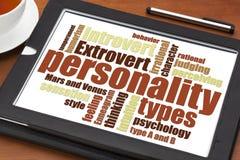 Tipos de personalidad nube de la palabra Fotografía de archivo libre de regalías