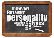 Tipos de personalidade no quadro-negro Imagem de Stock