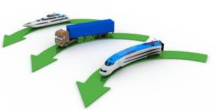 Tipos de transporte con los indicadores en un blanco Imagen de archivo libre de regalías
