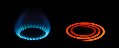 Tipos del gas del propano o de la energía eléctrica Imagen de archivo