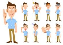 Tipos del _9 del gesto masculino y de las expresiones faciales libre illustration