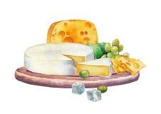 Tipos del witn del diseño de la acuarela diversos de queso y de uvas Foto de archivo