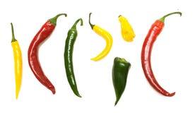 Tipos diferentes da pimenta quente, vista superior foto de stock royalty free