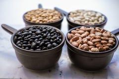 Tipos diferentes da variedade dos feijões de feijões no backgrou de madeira preto Foto de Stock