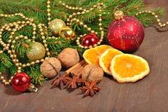 Tipos diferentes das especiarias, das porcas e de laranjas secadas, Natal dezembro Imagens de Stock Royalty Free