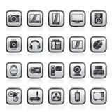 tipos diferentes de ícones da eletrônica ilustração stock