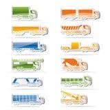 Tipos diferentes de ícones dos caminhões e dos camiões Imagens de Stock Royalty Free