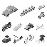 Tipos diferentes de ícones monocromáticos do transporte na coleção do grupo para o projeto Estoque isométrico do símbolo do vetor Imagens de Stock Royalty Free