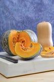 Tipos diferentes de abóbora e de polpa Fotografia de Stock
