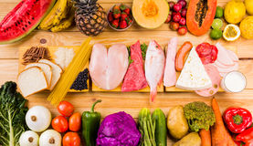 Tipos diferentes de alimentos Fotografia de Stock Royalty Free