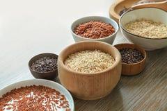 Tipos diferentes de arroz em umas bacias e em uma placa na tabela Fotografia de Stock Royalty Free